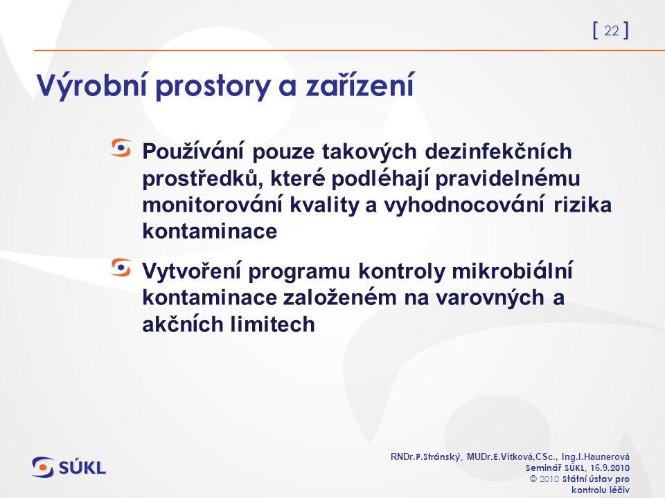 [ 22 ] RNDr. P.Stránský, MUDr. E. Vítková,CSc., Ing.I.Haunerová Seminář SÚKL, 1 6.