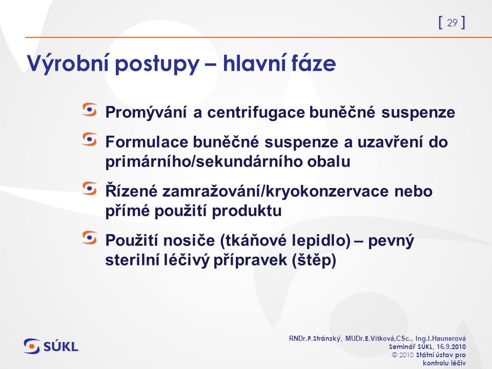 [ 29 ] RNDr. P.Stránský, MUDr. E. Vítková,CSc., Ing.I.Haunerová Seminář SÚKL, 1 6.