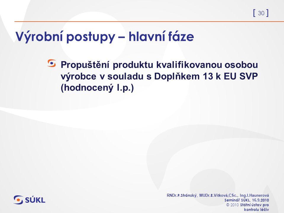 [ 30 ] RNDr. P.Stránský, MUDr. E. Vítková,CSc., Ing.I.Haunerová Seminář SÚKL, 1 6.