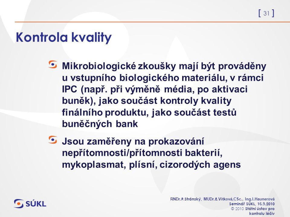 [ 31 ] RNDr. P.Stránský, MUDr. E. Vítková,CSc., Ing.I.Haunerová Seminář SÚKL, 1 6.