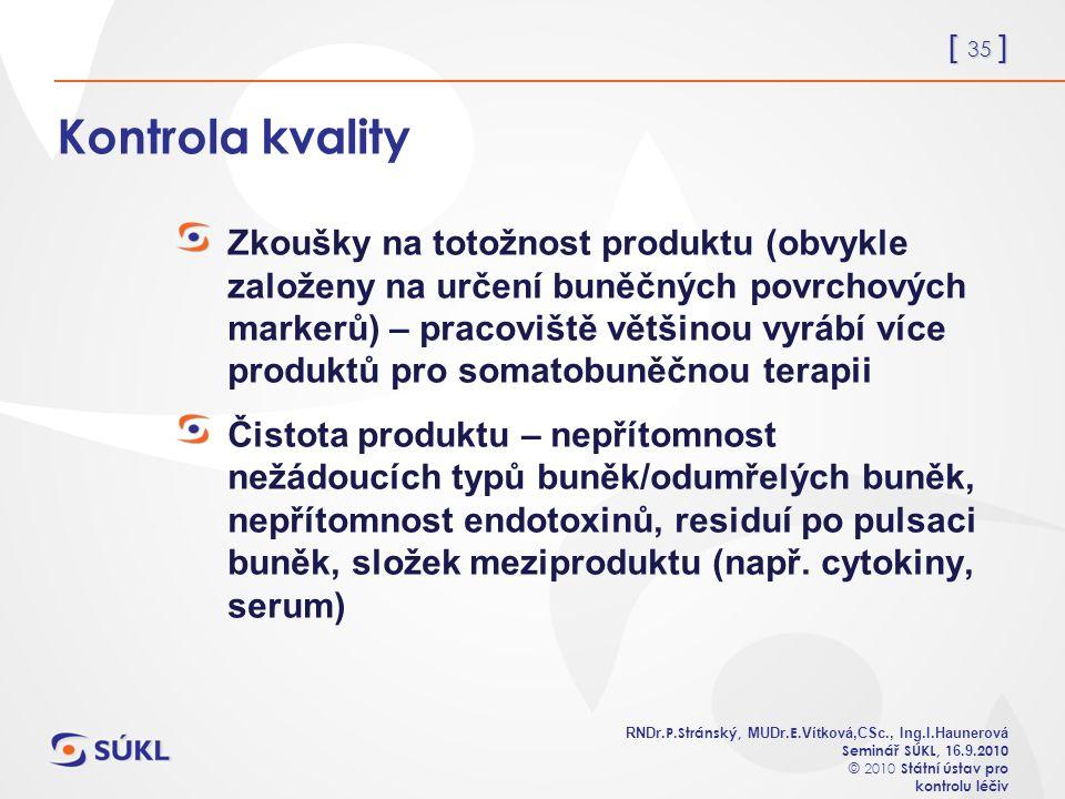 [ 35 ] RNDr. P.Stránský, MUDr. E. Vítková,CSc., Ing.I.Haunerová Seminář SÚKL, 1 6.