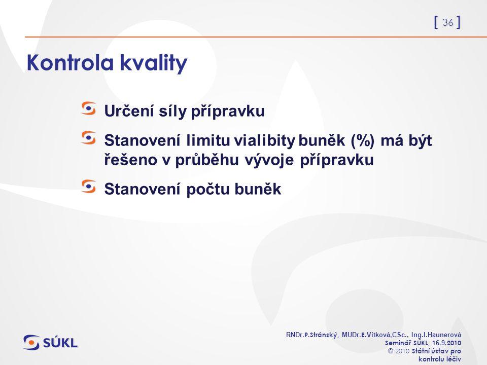 [ 36 ] RNDr. P.Stránský, MUDr. E. Vítková,CSc., Ing.I.Haunerová Seminář SÚKL, 1 6.