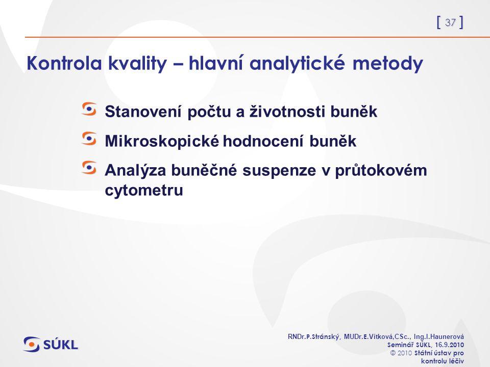 [ 37 ] RNDr. P.Stránský, MUDr. E. Vítková,CSc., Ing.I.Haunerová Seminář SÚKL, 1 6.