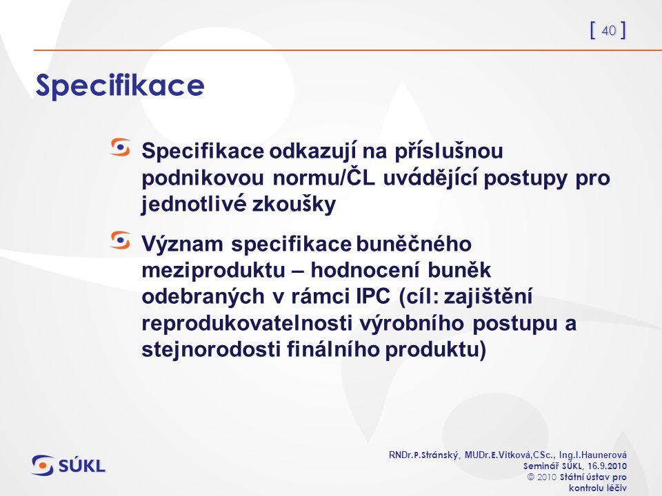 [ 40 ] RNDr. P.Stránský, MUDr. E. Vítková,CSc., Ing.I.Haunerová Seminář SÚKL, 1 6.