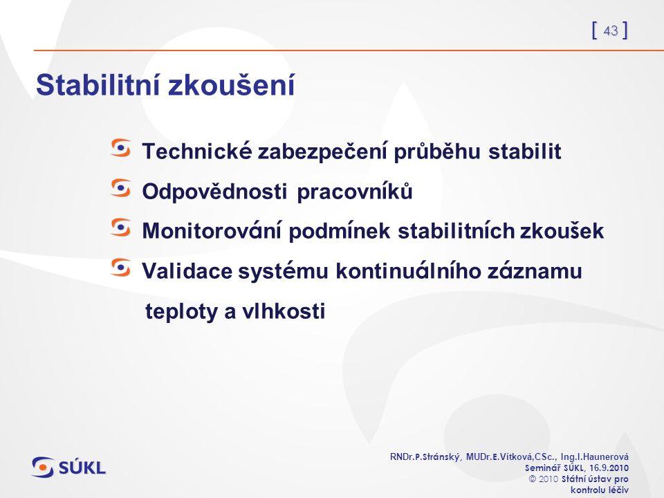 [ 43 ] RNDr. P.Stránský, MUDr. E. Vítková,CSc., Ing.I.Haunerová Seminář SÚKL, 1 6.