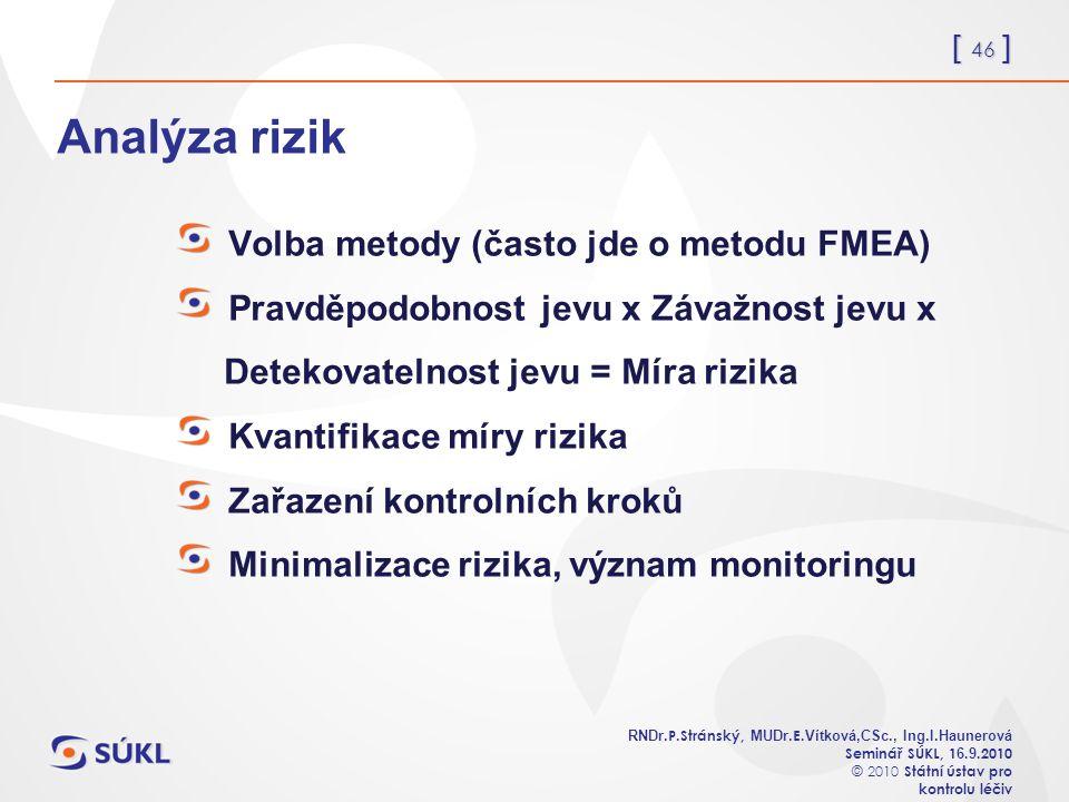 [ 46 ] RNDr. P.Stránský, MUDr. E. Vítková,CSc., Ing.I.Haunerová Seminář SÚKL, 1 6.