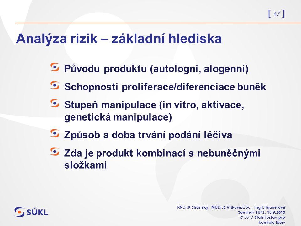 [ 47 ] RNDr. P.Stránský, MUDr. E. Vítková,CSc., Ing.I.Haunerová Seminář SÚKL, 1 6.