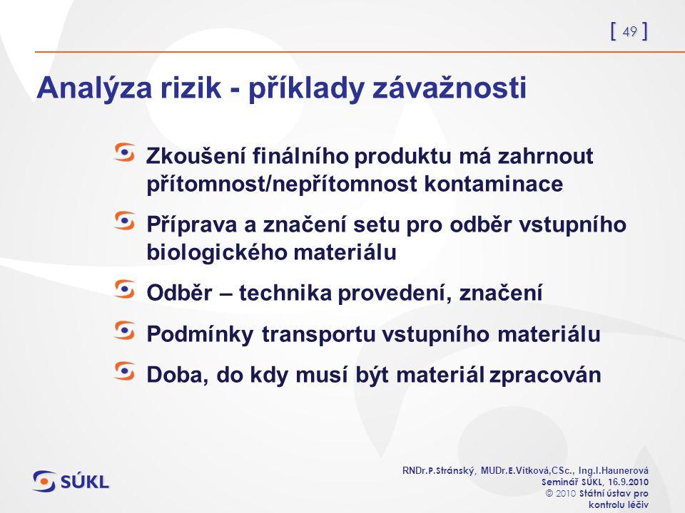 [ 49 ] RNDr. P.Stránský, MUDr. E. Vítková,CSc., Ing.I.Haunerová Seminář SÚKL, 1 6.