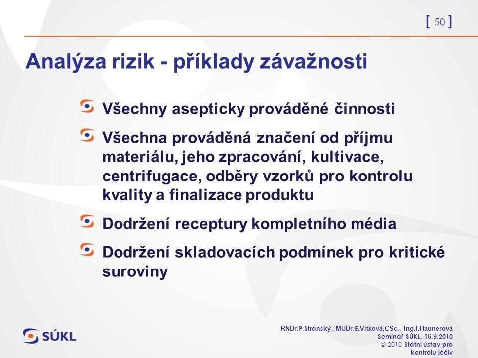 [ 50 ] RNDr. P.Stránský, MUDr. E. Vítková,CSc., Ing.I.Haunerová Seminář SÚKL, 1 6.