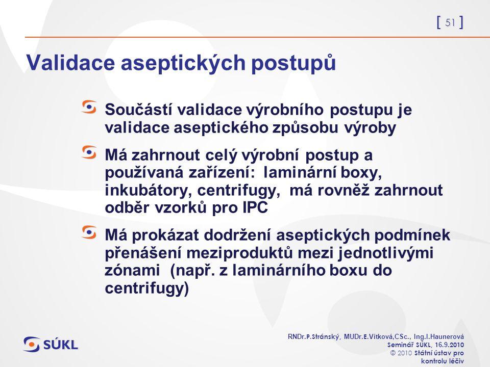 [ 51 ] RNDr. P.Stránský, MUDr. E. Vítková,CSc., Ing.I.Haunerová Seminář SÚKL, 1 6.