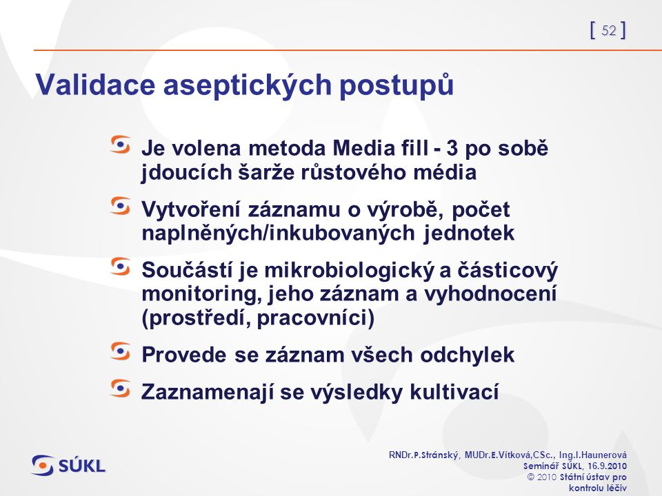 [ 52 ] RNDr. P.Stránský, MUDr. E. Vítková,CSc., Ing.I.Haunerová Seminář SÚKL, 1 6.