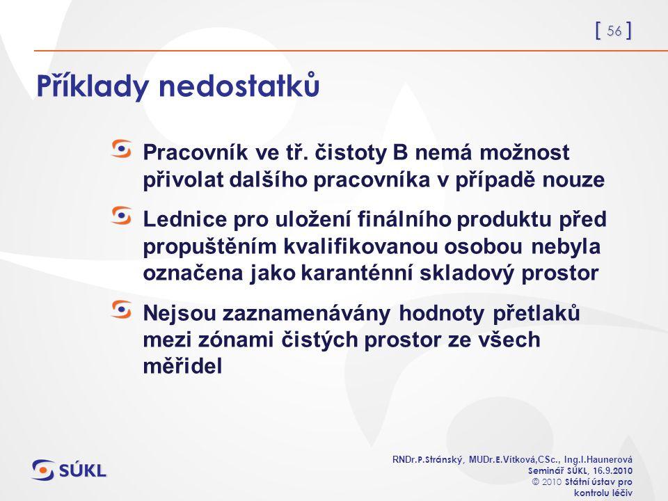 [ 56 ] RNDr. P.Stránský, MUDr. E. Vítková,CSc., Ing.I.Haunerová Seminář SÚKL, 1 6.