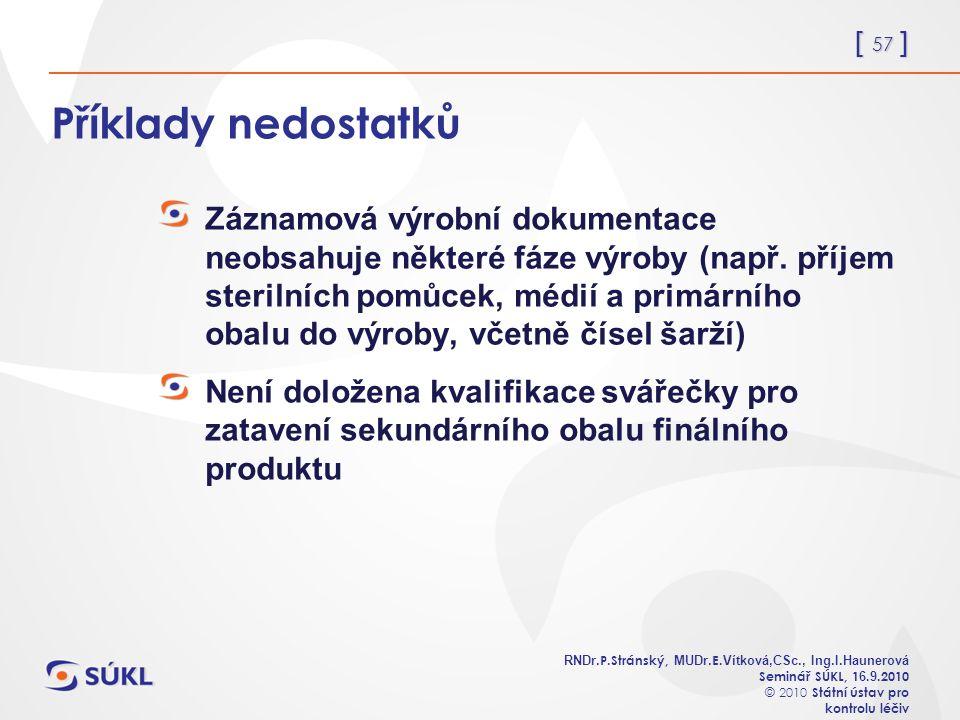 [ 57 ] RNDr. P.Stránský, MUDr. E. Vítková,CSc., Ing.I.Haunerová Seminář SÚKL, 1 6.