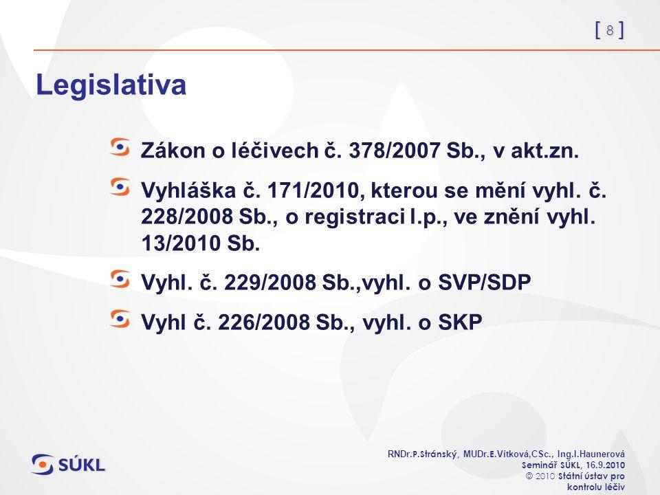 [ 8 ] RNDr. P.Stránský, MUDr. E. Vítková,CSc., Ing.I.Haunerová Seminář SÚKL, 1 6.