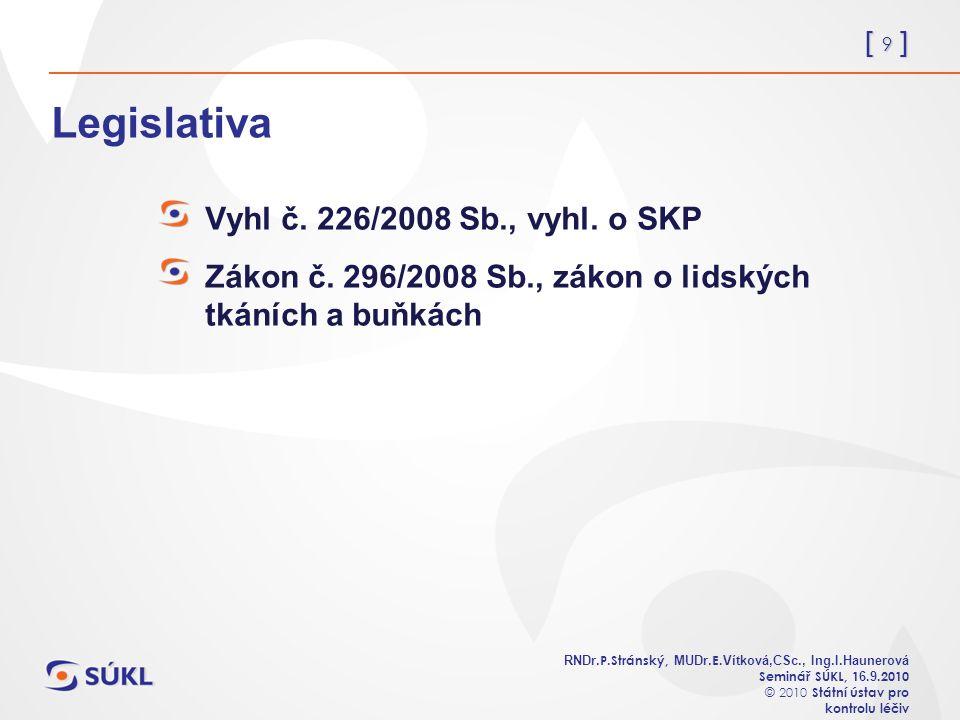 [ 9 ] RNDr. P.Stránský, MUDr. E. Vítková,CSc., Ing.I.Haunerová Seminář SÚKL, 1 6.