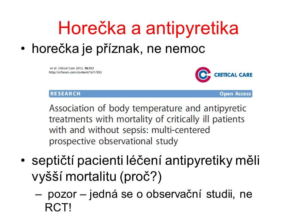 Horečka a antipyretika horečka je příznak, ne nemoc septičtí pacienti léčení antipyretiky měli vyšší mortalitu (proč?) – pozor – jedná se o observační studii, ne RCT!