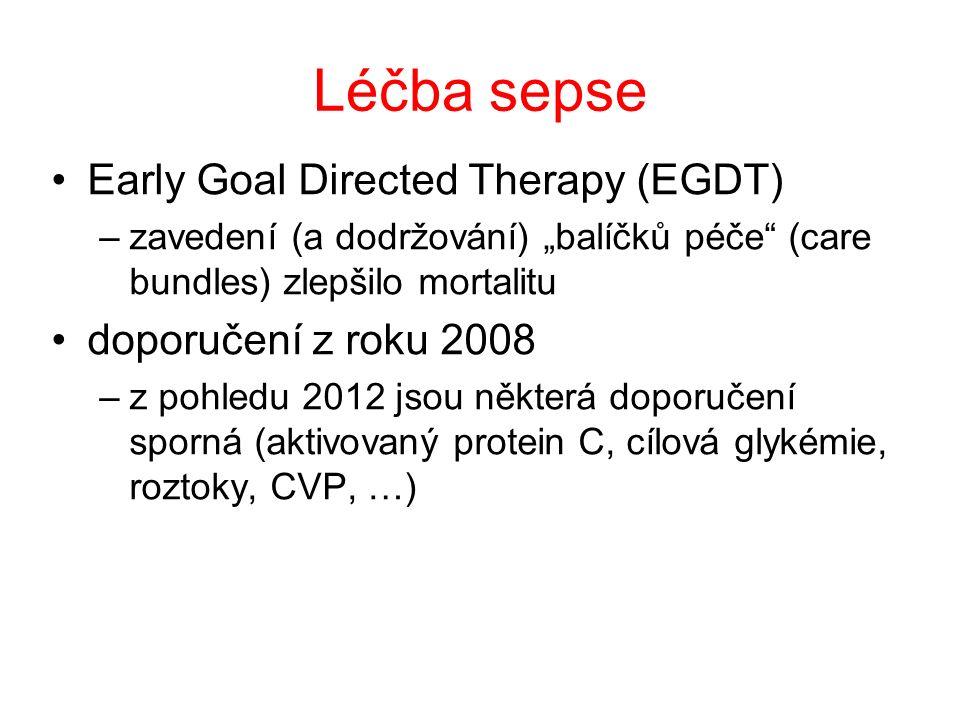 """Léčba sepse Early Goal Directed Therapy (EGDT) –zavedení (a dodržování) """"balíčků péče (care bundles) zlepšilo mortalitu doporučení z roku 2008 –z pohledu 2012 jsou některá doporučení sporná (aktivovaný protein C, cílová glykémie, roztoky, CVP, …)"""