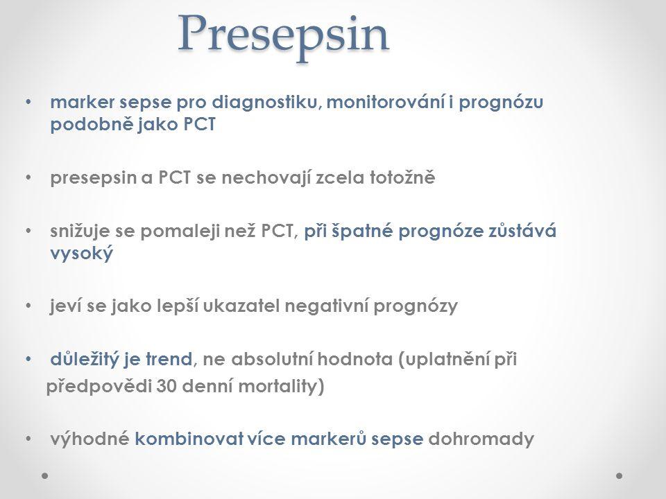 Presepsin Presepsin marker sepse pro diagnostiku, monitorování i prognózu podobně jako PCT presepsin a PCT se nechovají zcela totožně snižuje se pomaleji než PCT, při špatné prognóze zůstává vysoký jeví se jako lepší ukazatel negativní prognózy důležitý je trend, ne absolutní hodnota (uplatnění při předpovědi 30 denní mortality) výhodné kombinovat více markerů sepse dohromady
