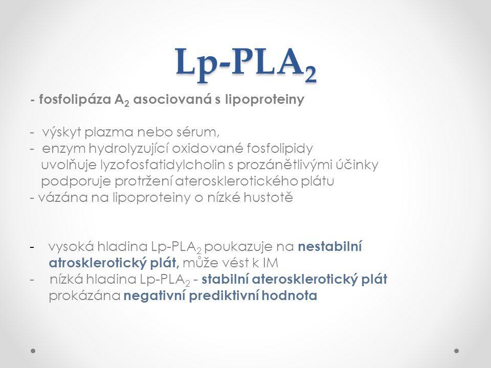 Lp-PLA 2 - fosfolipáza A 2 asociovaná s lipoproteiny - výskyt plazma nebo sérum, - enzym hydrolyzující oxidované fosfolipidy uvolňuje lyzofosfatidylcholin s prozánětlivými účinky podporuje protržení aterosklerotického plátu - vázána na lipoproteiny o nízké hustotě -vysoká hladina Lp-PLA 2 poukazuje na nestabilní atrosklerotický plát, může vést k IM - nízká hladina Lp-PLA 2 - stabilní aterosklerotický plát prokázána negativní prediktivní hodnota