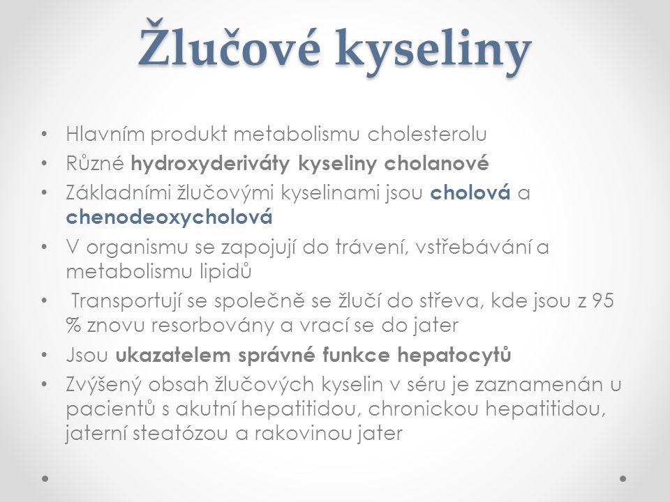 Žlučové kyseliny Hlavním produkt metabolismu cholesterolu Různé hydroxyderiváty kyseliny cholanové Základními žlučovými kyselinami jsou cholová a chenodeoxycholová V organismu se zapojují do trávení, vstřebávání a metabolismu lipidů Transportují se společně se žlučí do střeva, kde jsou z 95 % znovu resorbovány a vrací se do jater Jsou ukazatelem správné funkce hepatocytů Zvýšený obsah žlučových kyselin v séru je zaznamenán u pacientů s akutní hepatitidou, chronickou hepatitidou, jaterní steatózou a rakovinou jater