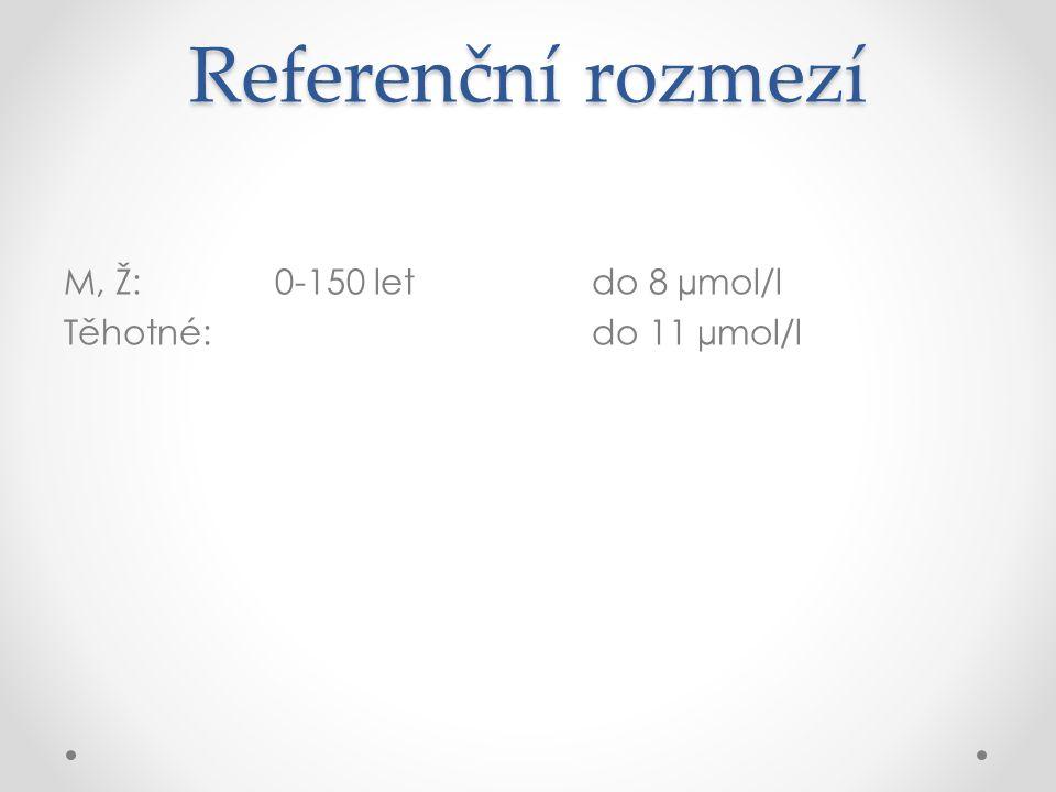Referenční rozmezí M, Ž: 0-150 letdo 8 µmol/l Těhotné:do 11 µmol/l