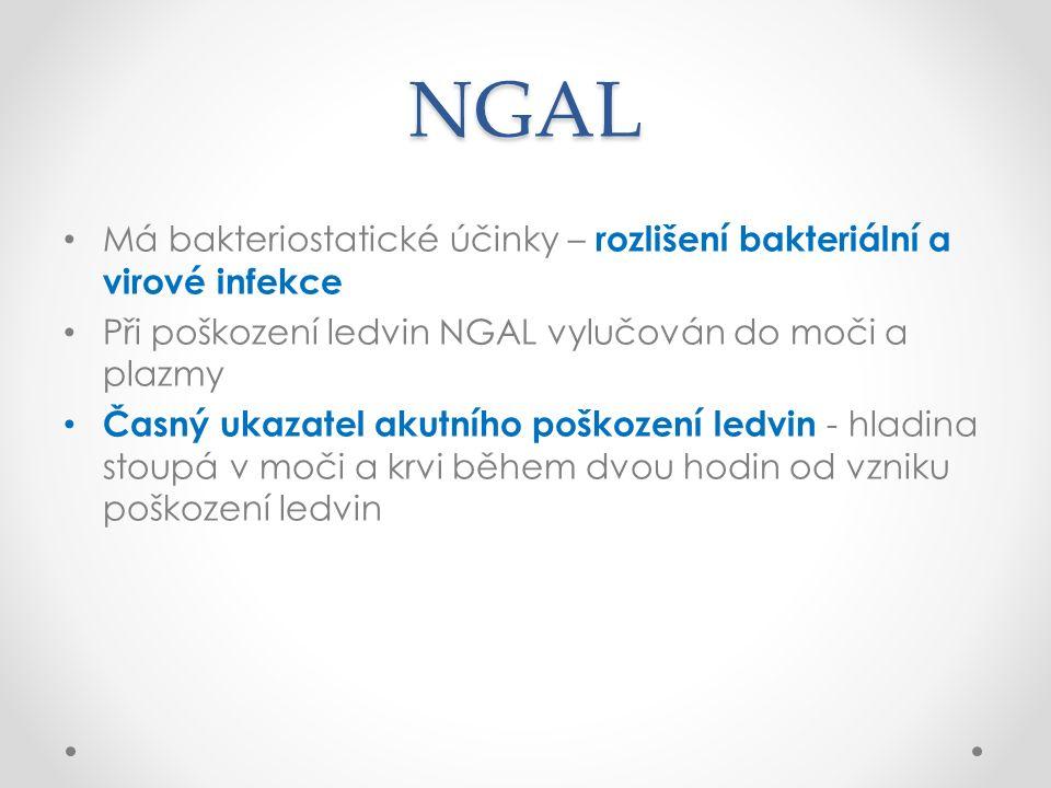 NGAL Má bakteriostatické účinky – rozlišení bakteriální a virové infekce Při poškození ledvin NGAL vylučován do moči a plazmy Časný ukazatel akutního poškození ledvin - hladina stoupá v moči a krvi během dvou hodin od vzniku poškození ledvin
