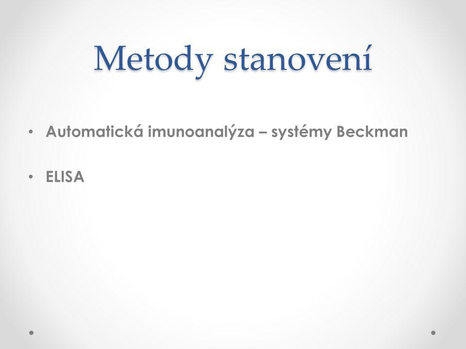 Metody stanovení Automatická imunoanalýza – systémy Beckman ELISA