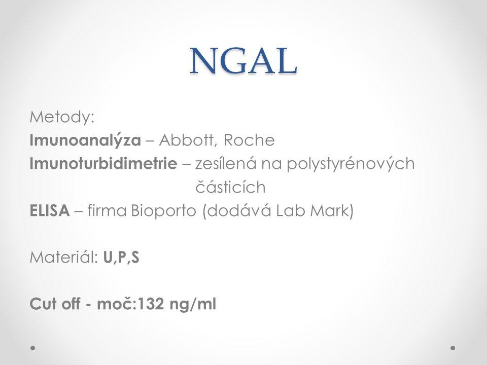NGAL Metody: Imunoanalýza – Abbott, Roche Imunoturbidimetrie – zesílená na polystyrénových částicích ELISA – firma Bioporto (dodává Lab Mark) Materiál: U,P,S Cut off - moč:132 ng/ml
