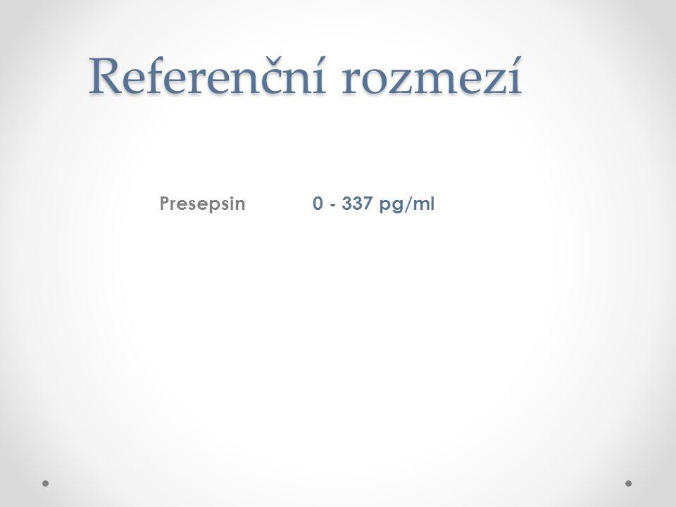 Referenční rozmezí Presepsin 0 - 337 pg/ml