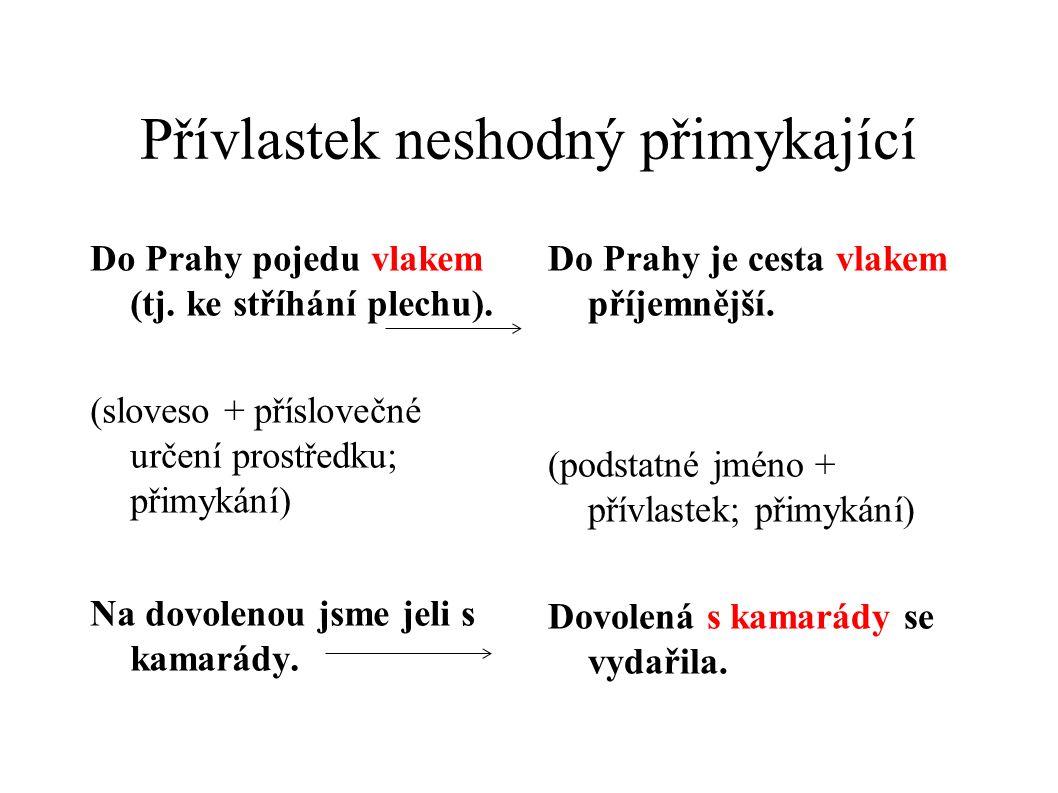 Přívlastek neshodný přimykající Do Prahy pojedu vlakem (tj. ke stříhání plechu). (sloveso + příslovečné určení prostředku; přimykání) Na dovolenou jsm