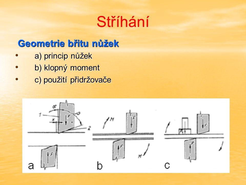 Stříhání Geometrie břitu nůžek Geometrie břitu nůžek a) princip nůžek a) princip nůžek b) klopný moment b) klopný moment c) použití přidržovače c) pou