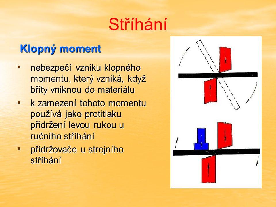 Stříhání Klopný moment Klopný moment nebezpečí vzniku klopného momentu, který vzniká, když břity vniknou do materiálu nebezpečí vzniku klopného moment