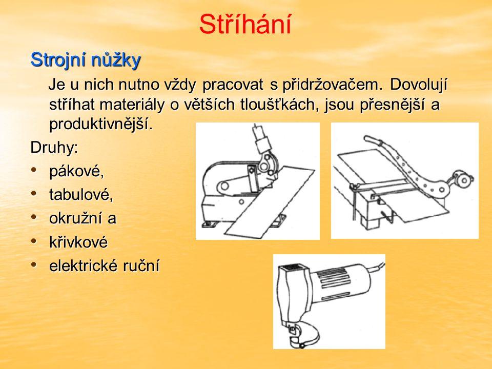 Stříhání Strojní a ruční stříhání – zásady pákové nůžky stříhají ocelové plechy cca tl.