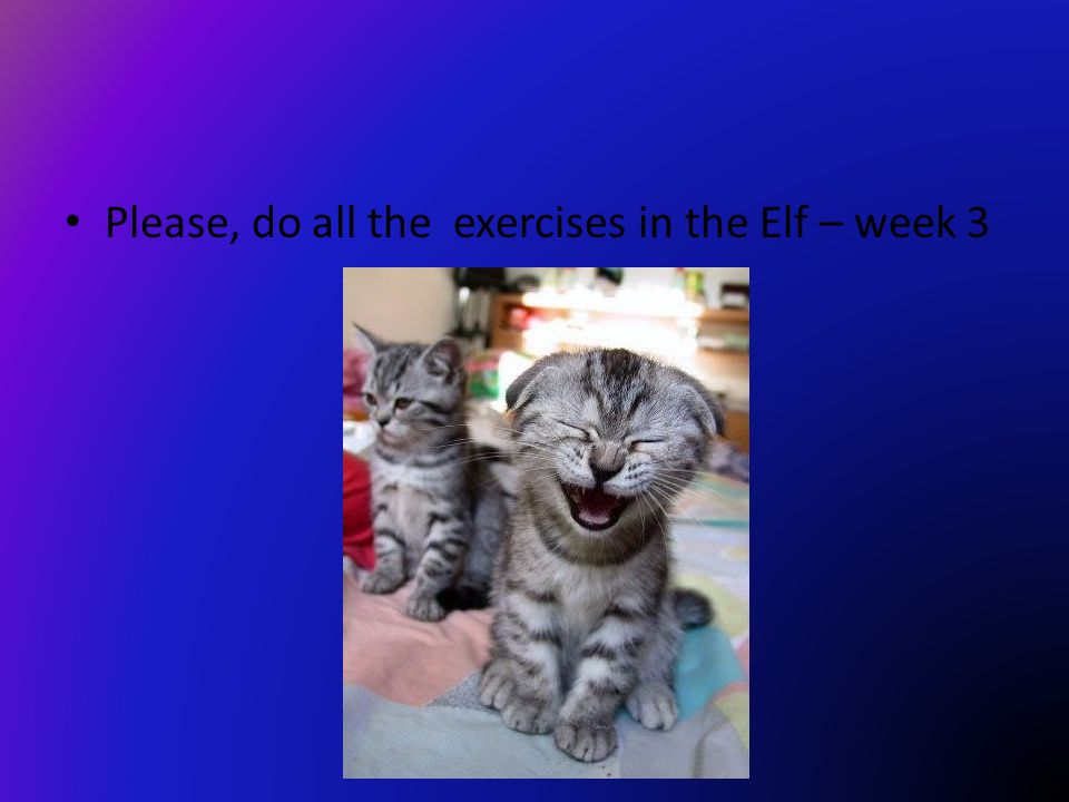 Please, do all the exercises in the Elf – week 3