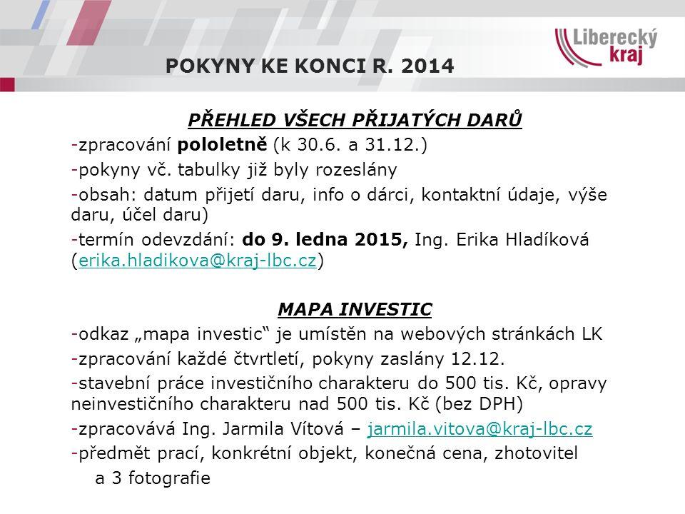 POKYNY KE KONCI R. 2014 PŘEHLED VŠECH PŘIJATÝCH DARŮ -zpracování pololetně (k 30.6.