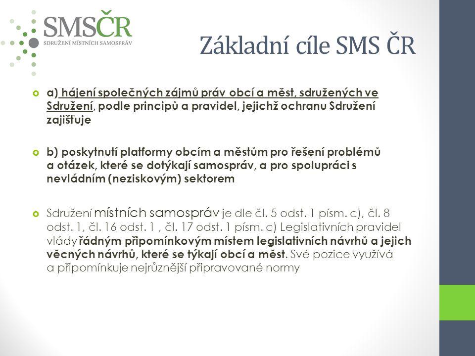 Základní cíle SMS ČR  a) hájení společných zájmů práv obcí a měst, sdružených ve Sdružení, podle principů a pravidel, jejichž ochranu Sdružení zajišť