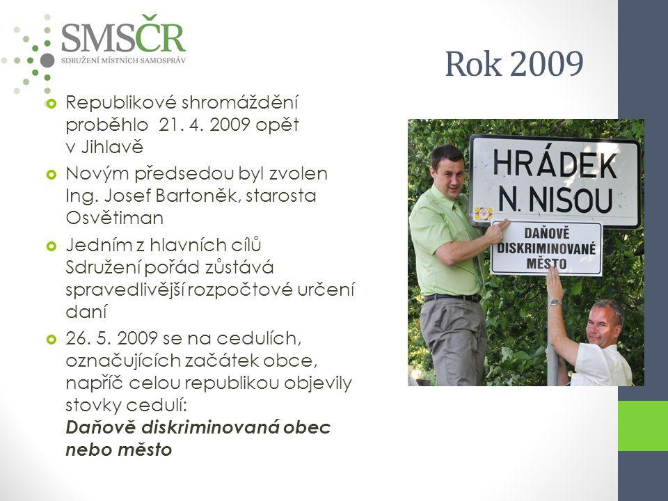 Rok 2009  Republikové shromáždění proběhlo 21. 4. 2009 opět v Jihlavě  Novým předsedou byl zvolen Ing. Josef Bartoněk, starosta Osvětiman  Jedním z