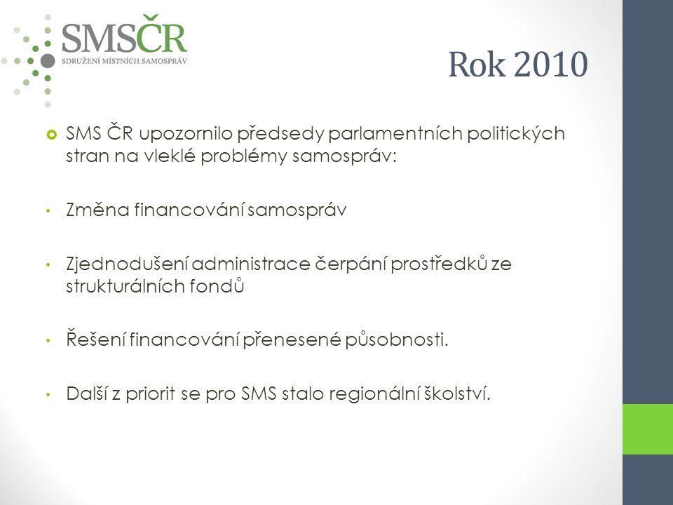 Rok 2010  SMS ČR upozornilo předsedy parlamentních politických stran na vleklé problémy samospráv: Změna financování samospráv Zjednodušení administrace čerpání prostředků ze strukturálních fondů Řešení financování přenesené působnosti.