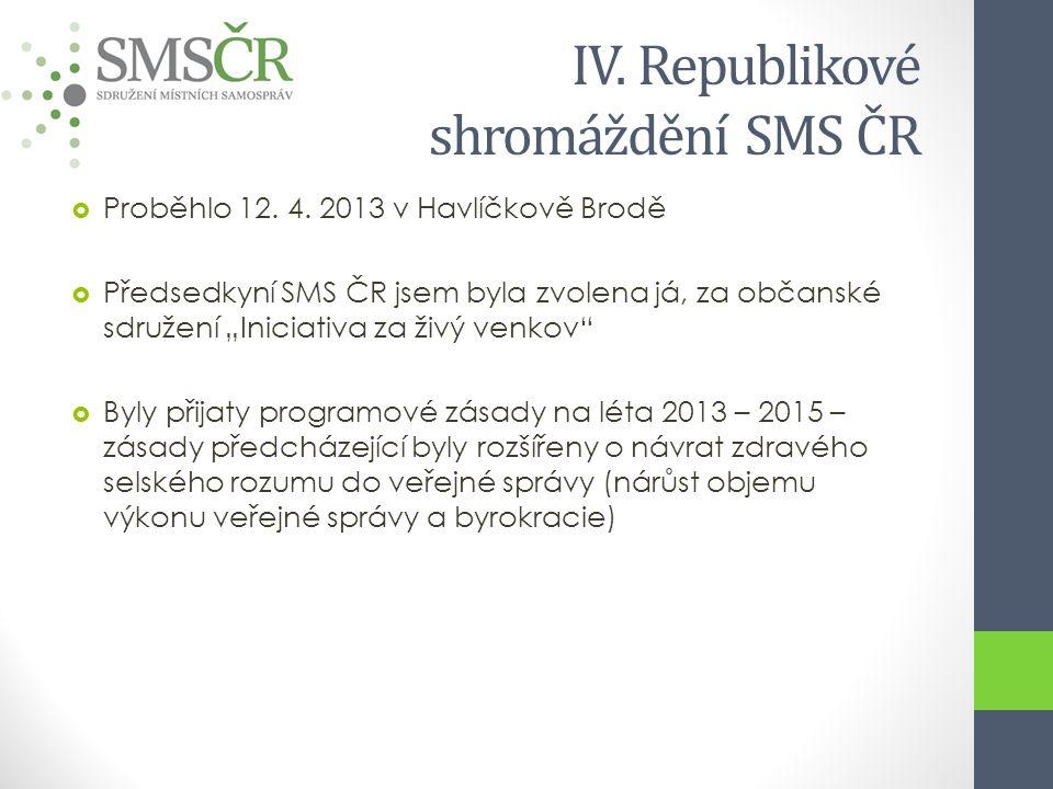 IV. Republikové shromáždění SMS ČR  Proběhlo 12.