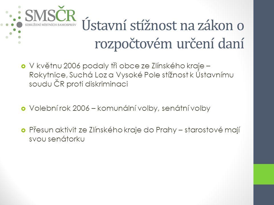 Ústavní stížnost na zákon o rozpočtovém určení daní  V květnu 2006 podaly tři obce ze Zlínského kraje – Rokytnice, Suchá Loz a Vysoké Pole stížnost k