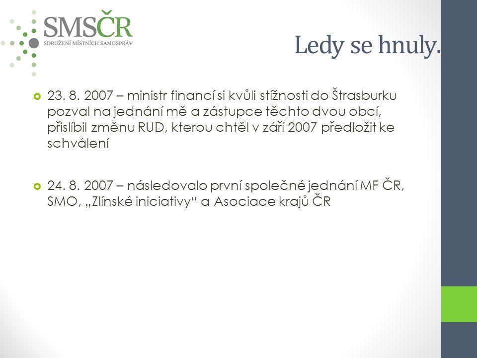 Ledy se hnuly……  23. 8. 2007 – ministr financí si kvůli stížnosti do Štrasburku pozval na jednání mě a zástupce těchto dvou obcí, přislíbil změnu RUD