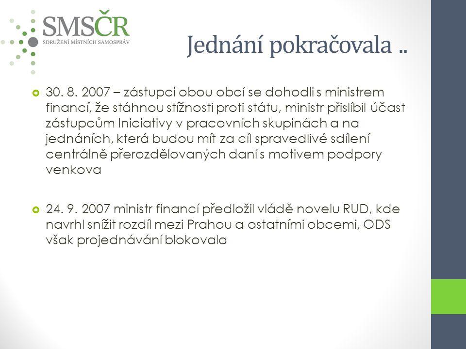 Jednání pokračovala..  30. 8. 2007 – zástupci obou obcí se dohodli s ministrem financí, že stáhnou stížnosti proti státu, ministr přislíbil účast zás