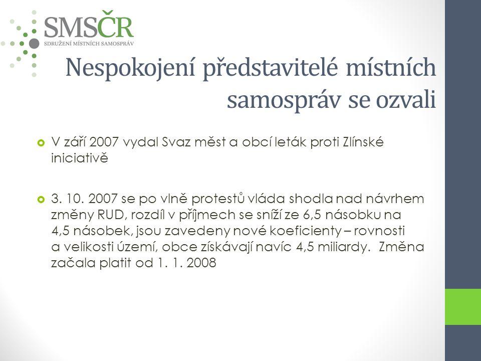 Nespokojení představitelé místních samospráv se ozvali  V září 2007 vydal Svaz měst a obcí leták proti Zlínské iniciativě  3. 10. 2007 se po vlně pr
