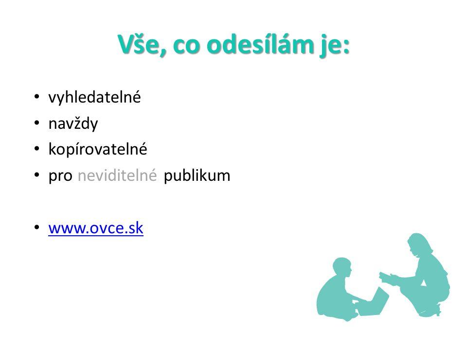 Vše, co odesílám je: vyhledatelné navždy kopírovatelné pro neviditelné publikum www.ovce.sk