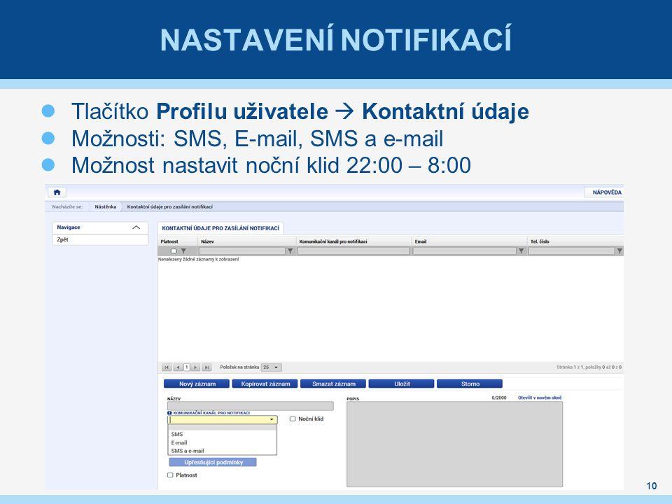 NASTAVENÍ NOTIFIKACÍ Tlačítko Profilu uživatele  Kontaktní údaje Možnosti: SMS, E-mail, SMS a e-mail Možnost nastavit noční klid 22:00 – 8:00 10