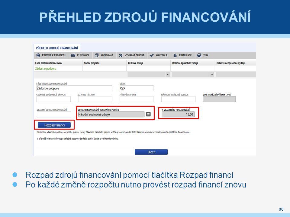 PŘEHLED ZDROJŮ FINANCOVÁNÍ 30 Rozpad zdrojů financování pomocí tlačítka Rozpad financí Po každé změně rozpočtu nutno provést rozpad financí znovu