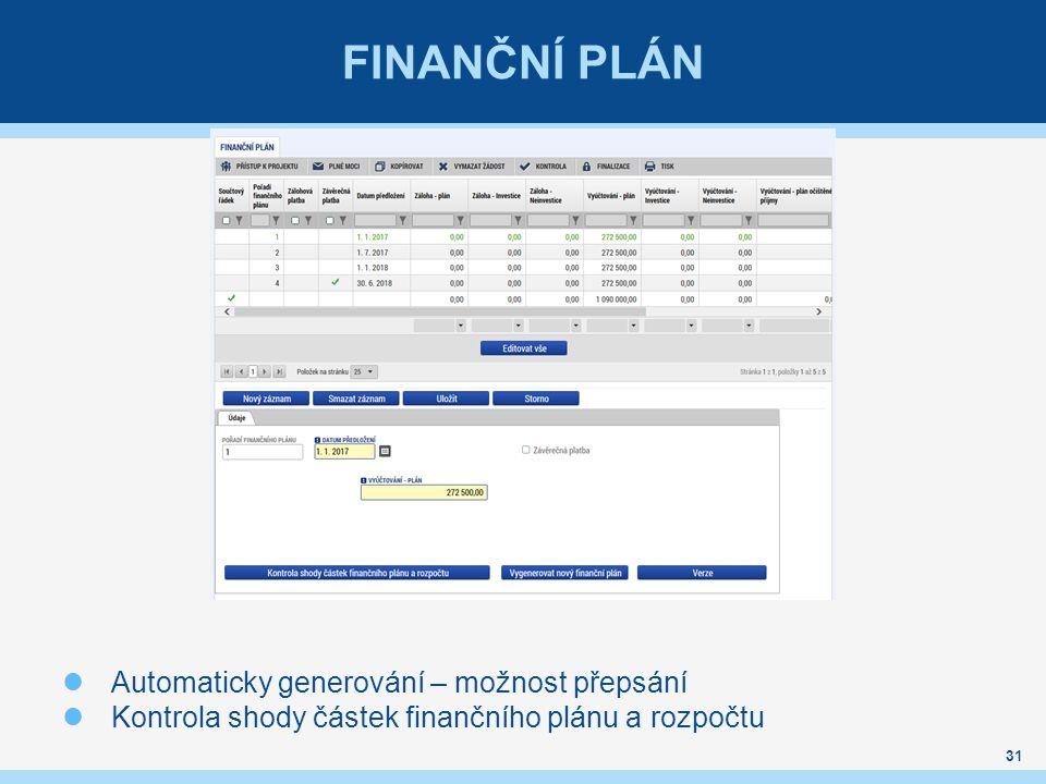 FINANČNÍ PLÁN 31 Automaticky generování – možnost přepsání Kontrola shody částek finančního plánu a rozpočtu