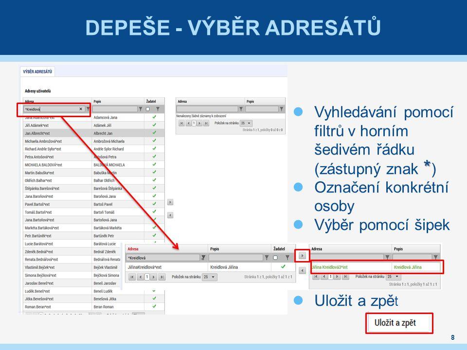DEPEŠE - VÝBĚR ADRESÁTŮ 8 * Vyhledávání pomocí filtrů v horním šedivém řádku (zástupný znak * ) Označení konkrétní osoby Výběr pomocí šipek Uložit a z