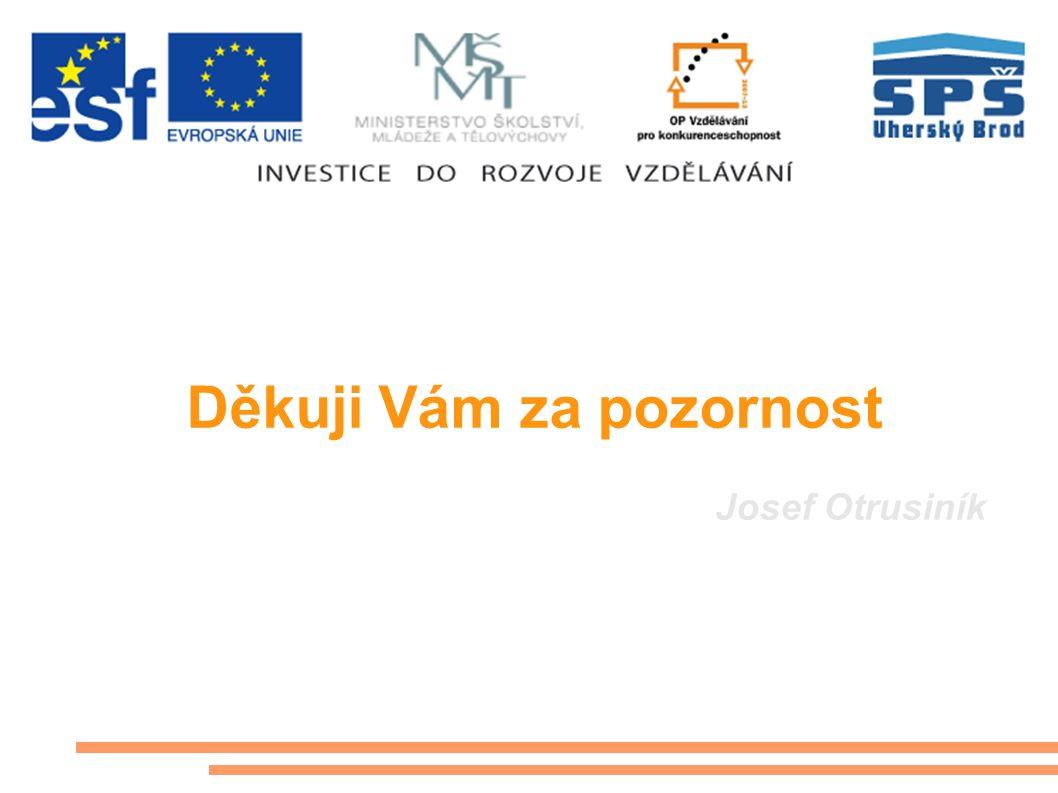 Děkuji Vám za pozornost Josef Otrusiník Tento projekt je spolufinancován Evropským sociálním fondem a státním rozpočtem České republiky Střední průmys