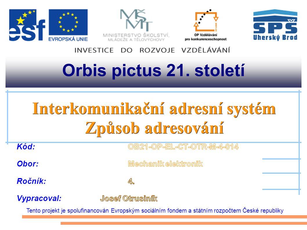 Orbis pictus 21. století Tento projekt je spolufinancován Evropským sociálním fondem a státním rozpočtem České republiky Interkomunikační adresní syst
